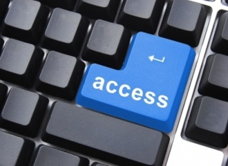 Blue Enter Key on Keyboard with Word 'Access'