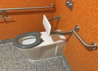 An accessible toilet pan with grabrails and a backrest