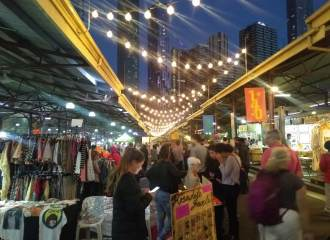 A view down an aisle in a night market