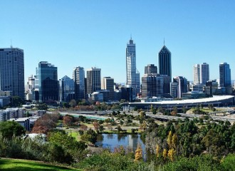 Perth skyline, looking over Kings Park