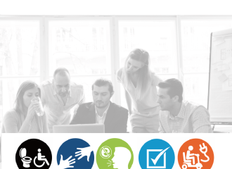 Communication Access Training by AccessAbilitiesAustralia, group of business people, looking at a laptop, with accessible icons at the bottom of the image (wheelchair, hands, speech, checkbox and a scooter charging power lead)